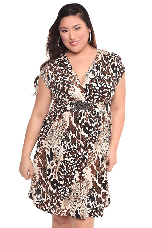 e53d86b0ff3ff Torrid Plus Size Animal Dress with Beaded Belt