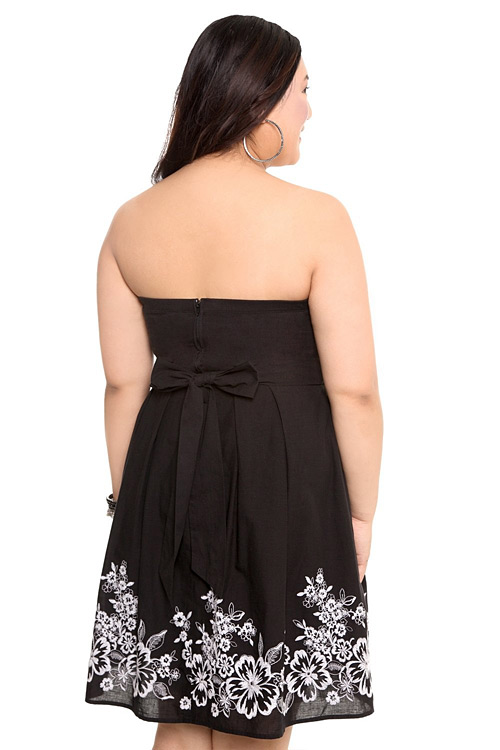Torrid Plus Size Black and White Embroidered Tube Dress