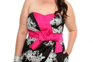 Torrid Plus Size Black and White Flower with Pink Bow Dress