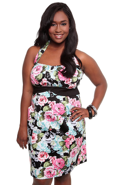 11d1c8ee9e041 Torrid Plus Size Floral Halter Pocket Dress