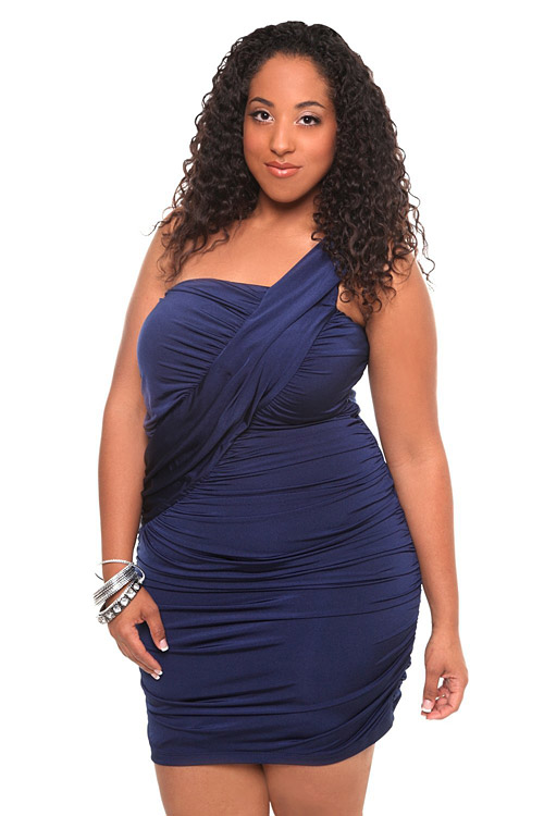 Torrid Plus Size Navy Drape One Shoulder Dress