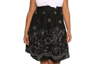Torrid Plus Size White Ruffle Black Floral Embroidered Dress